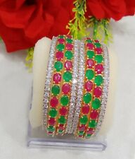 Indian Bollywood Wedding American Dimond 8 Pcs Bangles Jewelry For Casual Wear