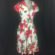 PINUP COUTURE Pinup Girl Clothing Small 50s Vintage Birdie Red Rose Floral Dress