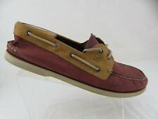 SPERRY TOP-SIDER A/O 2-Eye Sz 15 W Wide Red Men Boat Shoes