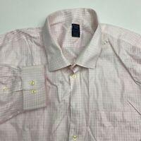 Pronto Uomo Button Up Dress Shirt Men's 20 34/35 Long Sleeve Pink White Casual