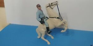 1950's Hartland Plastics Lone Ranger With Silver Rearing Horse