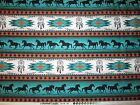 Navajo Native American Totem Horse Border Teal Black Cotton Fabric FQ