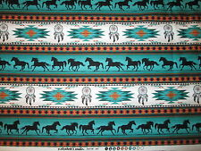 Navajo Native American Totem Horse Border Teal Black Cotton Fabric BTHY