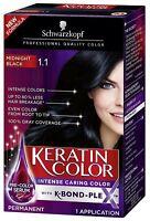 Schwarzkopf Keratin Color Anti-Age Hair Color Cream, #1.1 Midnight Black