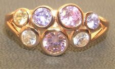 Rose Gold Vermeil & Silver Multi Coloured Topaz Abstract Cocktail Ring - size M