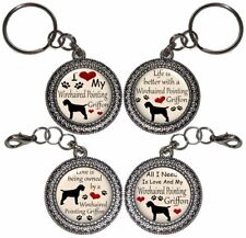 Wirehaired Pointing Griffon Dog Key Ring Key Chain Purse Charm Zipper Pull