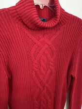 Chaps M Red Turtleneck Cableneck Cotton Long Sleeve Sweater Euc