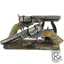 Western Double Gun Pistol Bullet Envelope Holder Office Home Decor