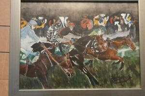 Horse Racing Painting Signed By The Artist 2005