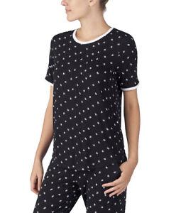 DKNY Short Sleeve Lips Print Pajama Top sz Medium Black White Kisses Love Shirt