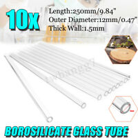 10Pcs 250mm x 12mm OD 1.5mm Borosilicate Glass Blowing Tube Blow Tubing Lab  @