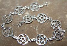 Pentagram Pentacle 925 Sterling Silver Bracelet 18cm or 20cm Pagan Wiccan Goth