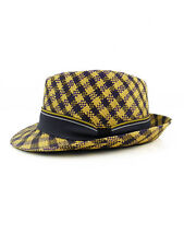 TWO TONE ELEGANT FEDORA YELLOW PURPLE TOQUILLA SIZE 7