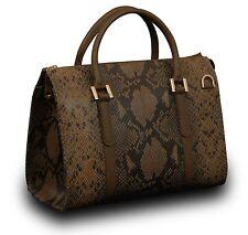 Made in Italy ECHT Leder Henkel Handtasche Tasche Schlangen Prägung Braun Black