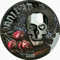 2018 Equatorial Guinea CRYSTAL SKULL VANITY Colorized 1oz .999 Proof Silver Coin