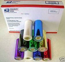 "HOT STAMP STAMPING FOIL KINGSLEY HOWARD 9 ASSORTED COLORS 3"" x 90+' on 1/2"" CORE"