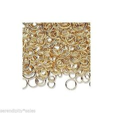 1 oz (~500)  Gold Plated Brass  Jump Rings Mixed Sizes 3-12mm ~ Open Round