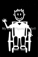 MY STICK FIGURE FAMILY Car Window Stickers TM13 Teen Boy Wheelchair Assisted