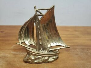 """Vintage Solid Brass Sailboat Boat Paper Weight Desk 4"""" Tall"""