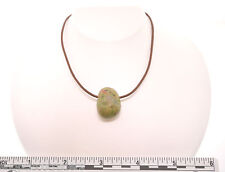 "Unakite 22"" Brown Leather Cord 1.5mm Necklace SS Hook A011-10 FREE GIFT BOX"