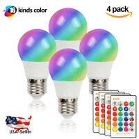 4Pcs E27 3W RGB LED Light Bulb 16 Color Changing Lamp IR Remote Control 85V-265V