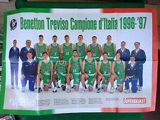 (AB94) Poster 82x54 cm BENETTON TREVISO CAMPIONE D'ITALIA 1996/97 basket