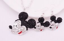 Mickey Mouse Crystal Charm Necklace and Matching Hanging Earing Set (LOVELY)