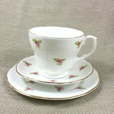 Vintage Breakfast Cup & Saucer Trio Small Roses Chintz Fine Bone China