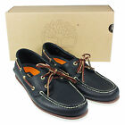 MENS TIMBERLAND CLASSIC 2 EYE NAVY LEATHER BOAT DECK LACE UP SHOES UK SIZES