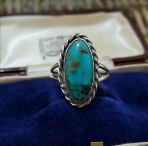 NaturalTurquoise Sterling Silver Ring, Genuine Gemstone, Size P US 7.75