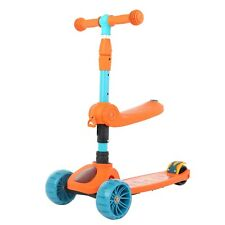 Kids Children Kick Push Scooter 3 Wheels Led Flashing Tilt Lean Boy Girl Scooter