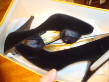 Vtg Rayne English Black Velvet ~6Aa Pumps Shoe Purse Makers for Queen Elizabeth