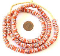 Handmade Orange Red Multi Swirl Ghana Krobo recycled Glass African trade Beads