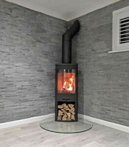 Tear Drop Glass Hearth for Wood Burning Stove Log Burner