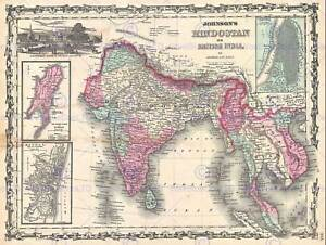 JOHNSON MAP INDIA AND SOUTHEAST ASIA VINTAGE POSTER ART PRINT 12x16 inch 2935PY