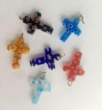 12pcs 25mm Christian cross Millefiori glass Lampwork pendant supplies jewelry