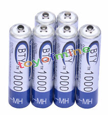 6x AAA 3A 1.2 V Ni-MH 1000mAh Rechargeable Battery BTY Cell for Remote Clock