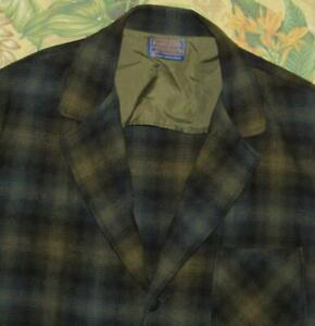 Vtg PENDLETON Green Plaid Wool Blazer Jacket Large L