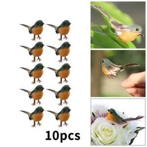 10Pcs Craft Feather Robin Bird Tree Decor Cute Artificial Bird Wedding Xmas New