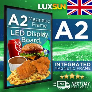 A2   LED Illuminated Magnetic Frame Poster Slim Display Sign Lightbox Menu Board