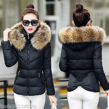 New Winter Women Thicken Cotton Fur Collar Hooded Coat Down Short Parka Jacket
