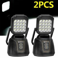 2Pcs Portable Rechargeable LED Work Light Outdoor Lighting Camp Magnetic Base