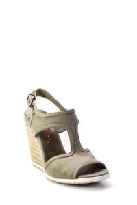 Prada Womens Peep Toe Wedges Gray Size 37.5