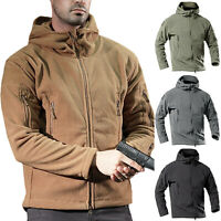 Men Tactical Fleece Jacket Military Army Outdoor Coat Winter Hooded Outwear Tops