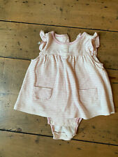 Baby Girl Dress Pink Stripes Organic Super Soft Built In Body Suit Sz 6-9 M