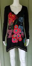 DESIGUAL Black Jersey Print Applique Dress Small S