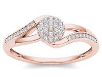 IGI Certified 14k Rose Gold 0.12 Ct Diamond Cluster Bypass Fashion Ring