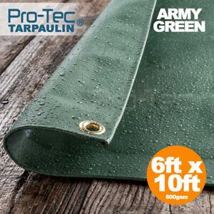 PVC 600gsm Extra Heavy Duty Tarpaulin Waterproof Sheet Thick Green Black Cover