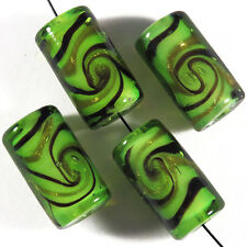 Lot de 4 Perles en Verre Lampwork Murano Tubes 10x17mm Vert