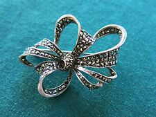 Sterling Silver Ribbon Bow Marcasite Brooch 11.2g